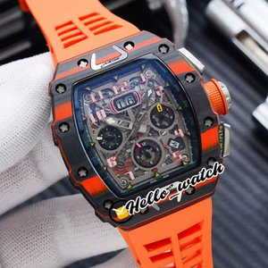 Nouvelle étui de fibre de carbone de luxe Flyback Chrono Date RM11-03 F1 Squelette de squelette Mens automatique Montre RM011 Bandes de caoutchouc orange Hello_Watch