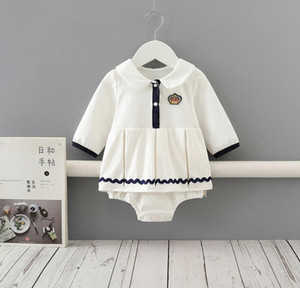 2020 Primavera Queda do bebê caçoa a roupa de escalada Branco manga comprida Pet Pan Collar Design Exército Romper infantil recém-nascido macacão 0-2T