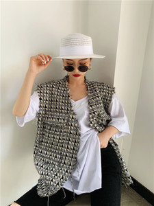 2020 Spring New design Women Fashion Houndtooth sleeveless vests jacket outwear casual brand WaistCoat gilet femme CX200813