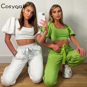 Cosygal coton Bow deux pièces Set Femmes manches bouffantes Bodycon Crop Top pantalon long Costume Sweatpants Ensembles Tenues vêtements de loisirs Survêtement