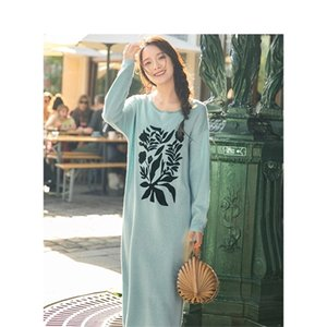 INMAN 2020 Autumn New Arrival Retro Causal Holiday Style Round Collar H Shape Women Knitwear Dress 0925