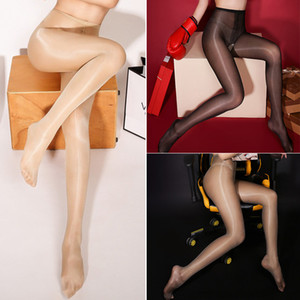 Sexy Oil Shiny Open Crotch Pantyhose Stockings for Women Smooth High Waist See Through High Elastic Crotchless Pantyhose Tights