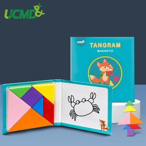 Magnetic 3D Puzzle Jigsaw Tangram Game Montessori Early Learning Educational Drawing Board Geometry Cognitive Toy Gift For Kids CX200818