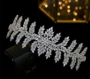 ASNORA Luxury new crown CZ headdress bride headband hair wedding dress with accessories11