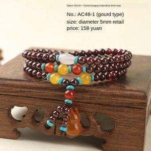 Ph4SZ Nuovo Internet Celebrity Garnet Garnet tre cerchi braccialetto di pietra in pietra regalo calcedonio accessori agata dono delle donne di