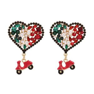 Colorful Glass Crystal Faux Pearl Heart Shape Dangle Earrings Women Fashion Red Car Designer Pendants Drop Earrings Jewelry 2020
