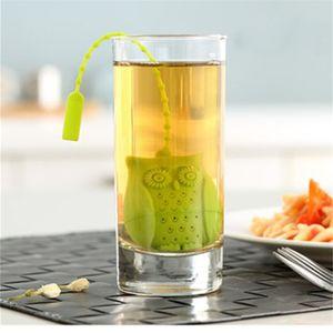 Infusores de té de silicona Filtro de té de forma búho de animal lindo con infusor de té de grado alimenticio multicolor coladores creativos