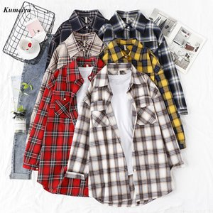Autunno Plaid Flannel Shirt donne camicette e top in cotone Retro signora Loose Outwear Chemisier Femme due tasche 200924
