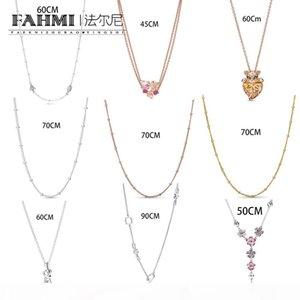Fahmi 100% 925 Sterling Silver Peach Blossom Lioness Hearts freccia fresco e libero collana elegante delle donne Charm
