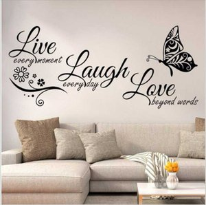 Leben Lachen-Liebe-Schmetterlings-Blumen-Wand-Kunst-Aufkleber Moderne Wandaufkleber Zitate Vinyls Aufkleber Aufkleber Wohnkultur Wohnzimmer