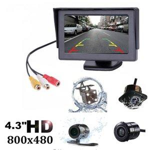 2 개 IN1 TFT 4.3 인치 자동 TFT LCD 사이드 주차 컬러 모니터 + LED 나이트 비전 CCD 리어 뷰 카메라 차량용 모니터