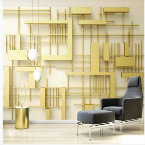 classic painting wallpaper 3d stereo fashion geometric golden square splicing TV background wall