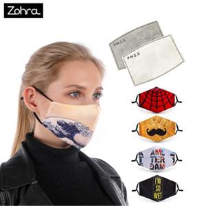 Zohra Cotton lavável Máscara Facial Impresso Boca Máscara Boca Caps Ear Hook Boca Máscara Reuseable com 2pcs filtro