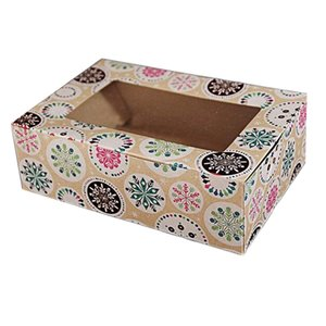 12Pack Christmas Snowflake Gifts Boxes with Window, Candy Boxes, Cookie Gift Boxes,Brown Kraft Boxes with Christmas Pattern