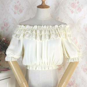 Women Retro Renaissance Top Sexy Off the Shoulder Short Sleeve Lace Victorian Vintage Steampunk Blouse Lolita Shirt Female