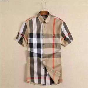 Brand Men's Business Casual Shirt Stripes de manga corta para hombre Slim Fit Camisa Masculina Social Male Camisetas Nueva Moda Hombre Checked Shirt