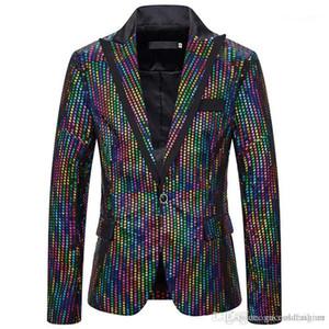 Dot Impresso Casacos Casual magro dos homens Vestuário Mens Designer Night Club Blazers Moda Mens Colorful Polka
