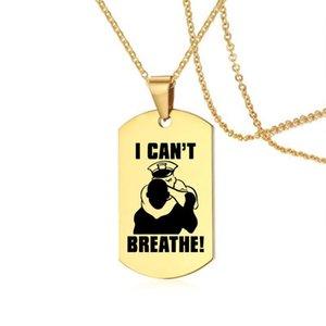 Protesto POFUNUO americano Eu não posso respirar Colares do ouro de aço inoxidável Tag Colar 8 estilos disponíveis George Floyd