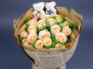 Flower wrapping paper bouquet packaging materials high-end English retro cowhide newspaper florist supplies wholesale