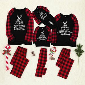 baba anne çocuk pamuk baskı için yılbaşı pijama karikatür aile uyan kıyafetler ekose bebek pijama kış giysileri Romper set