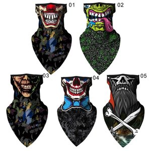 1Pc 3D Clown Skull Balaclava Face Neck Cover Sports Scarf Bandana Protection Headwear Bicycle Scarf For Hiking