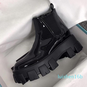 qHot 2019 Designer women Shoes Fashion British Boots Round Toe Martin Boots Patent leather Thick bottom Toes Perfect Official Quality 16l