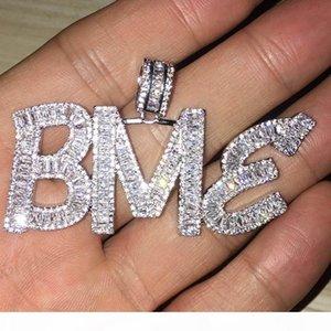 Nome feito sob encomenda Baguette Letters Hip Hop Pendant Com Livre Corda Corrente de Ouro Prata Bling Zirconia Homens Hip Hop Pendant Jewelry