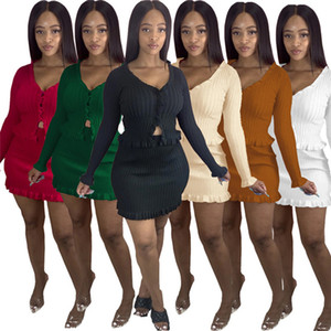 Women Fall 2 piece dress knit t-shirts dresses Solid color outfits cardigan button Sweaters Miniskirt sweatsuit casual jogging suits 3725