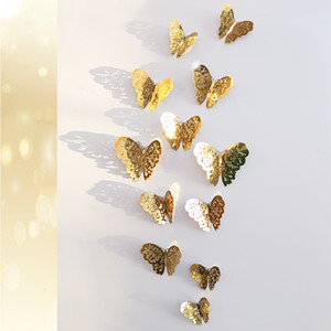 12PCS 3D Hollow butterfly wall stickers headboard living room bedroom wall decorations TV background wall stickers
