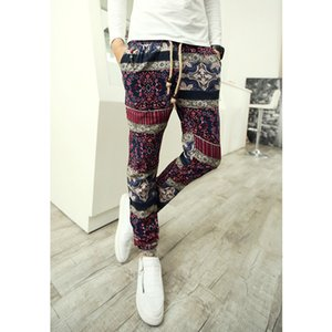 28-36! 2020 Tidal tendencia actual de la personalidad del haz Pantalones Flor Nacional Harem pantalones ocasionales de los trajes del cantante de lino de los hombres de