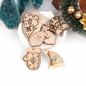 1pack DIY Natural Mini Деревянные Висячие Чип рождественской елки украшения кулон Снеговик дерево Форма Xmas украшения украшения Санта Decora vQgb #