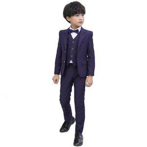 New Flower Boys Tuxedo Suit for Weddings Children Formal Blazer Solid Jacket Pants Bowtie Kids Gentleman Party Host Clothing Set