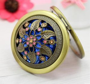 Elegant ancient bronze mirror folding Tan small cosmetic mirror LOVE a birthday present