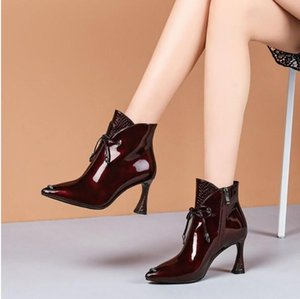 All-match Short Boots Womens 2020 Autumn and Winter New Pointed Horseshoe High Heel Womens Shoes Wine Red Cow Patent Leather Martin Boots Wo