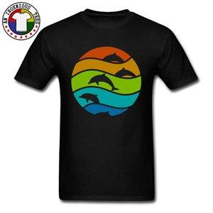 Мужские Новые тройники O-образным вырезом Осень Хлопок Ткань Простые Лучшие футболки Ocean Dolphin Art Top T Shirt для мужчин большого размера 3XL моды Tops