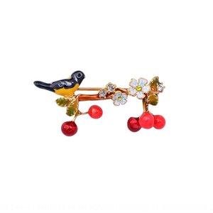nzSGd Nueva esmalte pájaro animal pintado a mano de la flor de cerezo Pin personalizado collar colgante broche broche