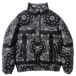Couleur Vintage Bloc Patchwork Manteau Hommes Parkas Casual chaud Veste matelassée 2020 Manteaux coupe-vent Streetwear