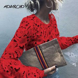 MOARCHO Flare del manicotto del merletto bianco camicetta delle donne dal O-collo solido camicetta 2020 parti superiori sexy Hollow New Spring Slim Pullover