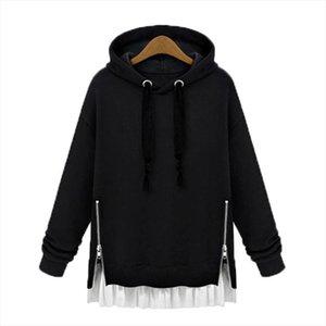 Winter Womens Zip Ruffles Fleece Hooded Sweatshirt Autumn Ladies Elegant Loose Casual Long Sleeve Oversized Hoodie Pullover