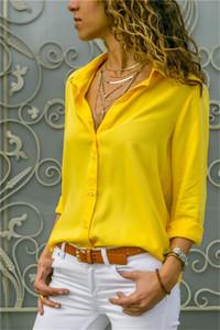 New Spring Frauen Chiffon- Blusen-Revers-Neck T-Shirts mit Knöpfen Loose Women Langarm Mode Kleidung