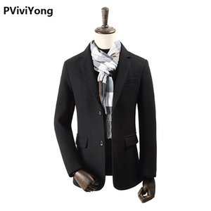 PViviYong 2020 new arrival autumn&winter high quality wool trench coat men,men's wool turn-down collar jackets men plus-size M-4XL 1903