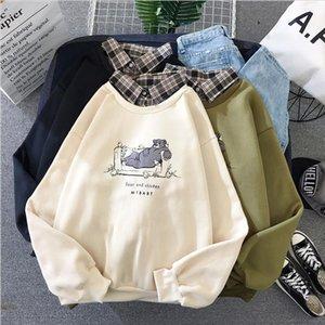 Korean Women Spring Harajuku Hoodies Casual Loose Cartoon Bear Print Patchwork Fake Two Pieces Sweatshirt Female Cute Fleece Top