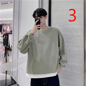 Korean fashion men's long-sleeved T-shirt student casual handsome solid color shirt 0924