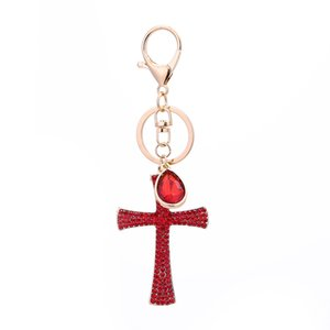 Cross Key Chain Alloy Rhinestone Hanging Pendant for Cellphone Bags Key LL@17