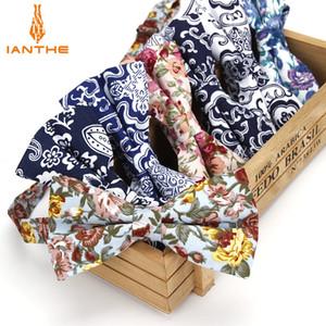 Ianthe Brand New Men's Vintage Flower Cotton Bow Tie Wedding Suit Bowtie For Man Male Neckwear Fashion Butterfly Gravata Necktie