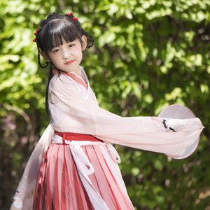 Kinderkleidung des Mädchens kleinen Pfirsich Kinder Kleid und weißen Kragen Kleid chinesischen Stil tägliche Verbesserung Nicht-Han-Kleidung Sommer Siste