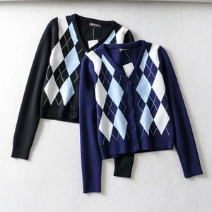 Femmes Fashion Sweater Femmes Mignon Argyle Bouton UP V T Cardigan Cardigan Pulls Populaire Streetwear 3 Couleurs Taille S M