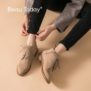 BeauToday Ankle Boots Women Kid Suede Lace Up Closure Genuine Leather Winter Lady Fashion Boots Handmade 03609