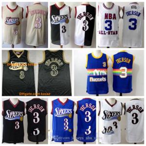 Vintage Philadelphie76ersThrowback Jersey 3 AllenIverson Retro Golden Green HWCMichael Ness Mesh Basketball Maillots