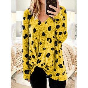 Dropshipping Осень Женская Deisnger TShirt Сыпучие леопарда Printed V шеи длинным рукавом Плюс Размер Женская одежда